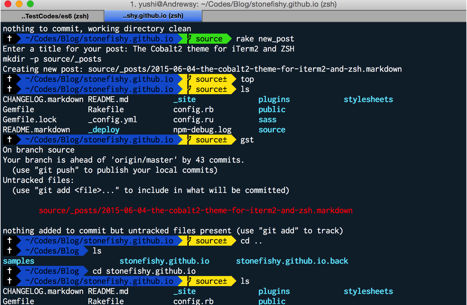 The Cobalt2 Theme for iTerm2 and ZSH - Stonefishy Blog